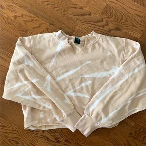 Target wild Fable tan tie dye cropped sweatshirt